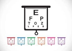 לוח בדיקת ראייה בחנות אופטיקה