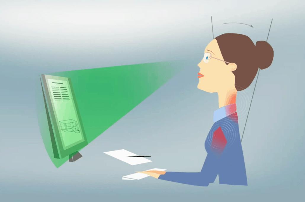 תיאור הכאבים שנגרמים משימוש בעדשות מולטיפוקל לצרכים משרדיים כמו צפייה בצג המחשב.