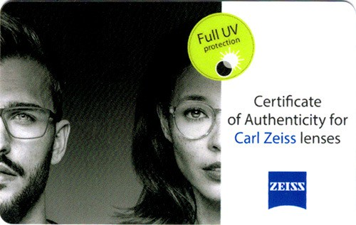 כרטיס מקוריות עדשות ZEISS